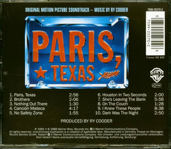 Paris, Texas - Original Motion Picture Soundtrack (CD)