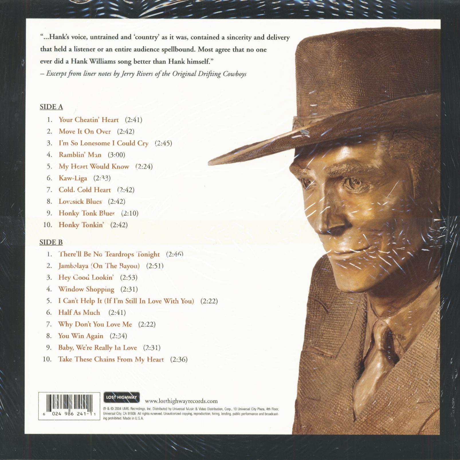Hank Williams Lp 20 Of Hank William S Greatest Hits