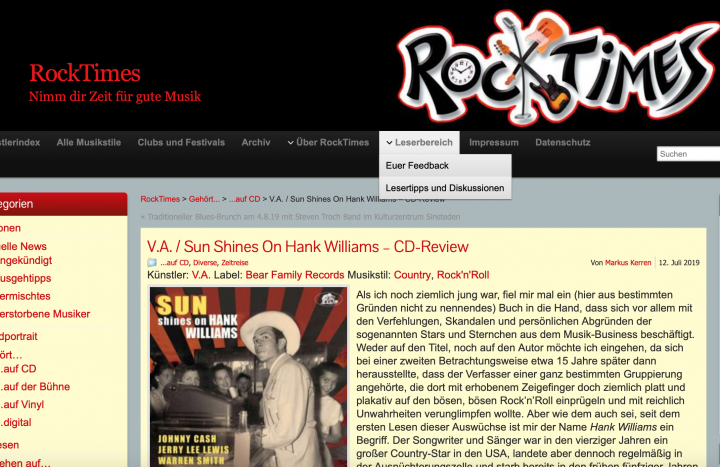 Presse-Various-Artists-Sun-Shines-On-Hank-Williams-Sun-Artists-Sing-The-Songs-Of-Rocktimes