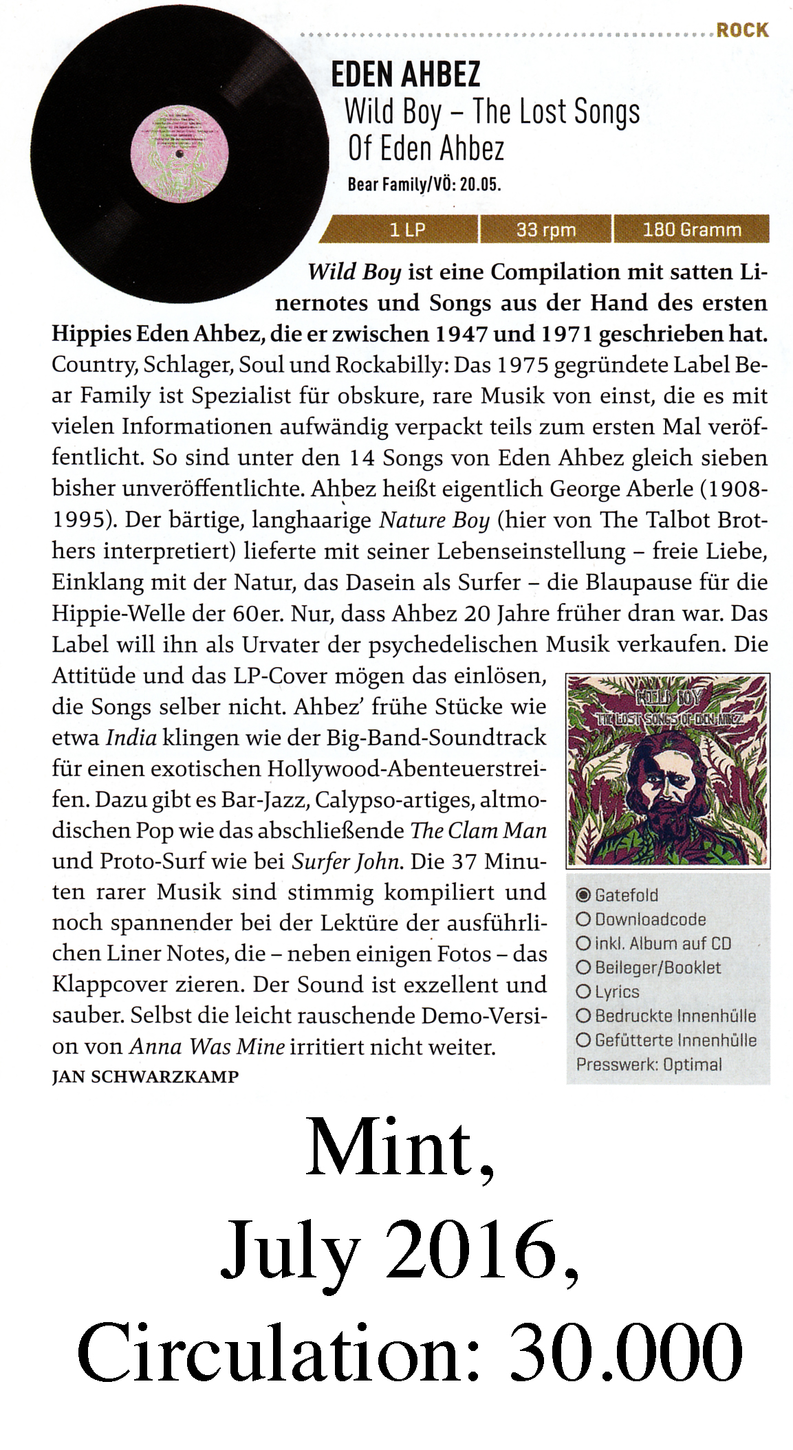 Presse - Eden Ahbez Wild Boy — The Lost Songs Of Eden Ahbez Bear Family - Mint, July 2016
