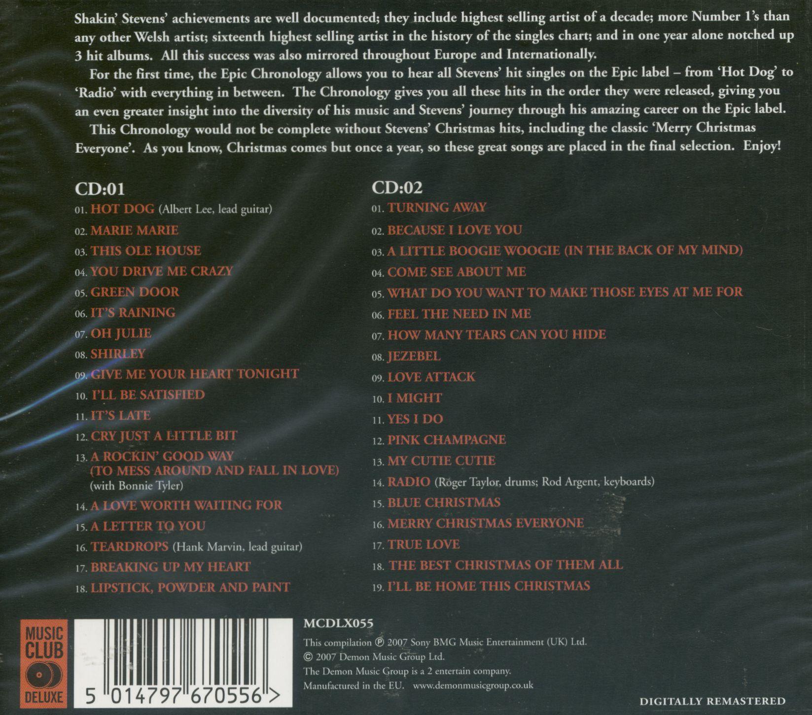 Shakin Stevens Cd Chronology The Epic Hit Singles 2
