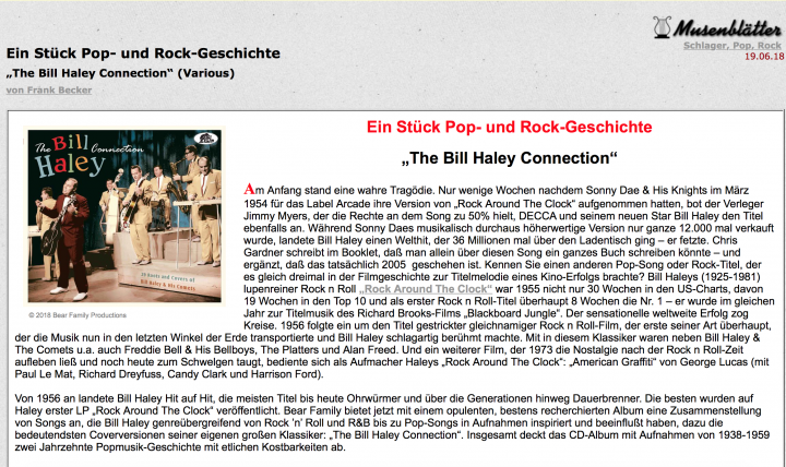 Presse-Archiv-Various-The-Bill-Haley-Connection-CD-Musenbl-tter