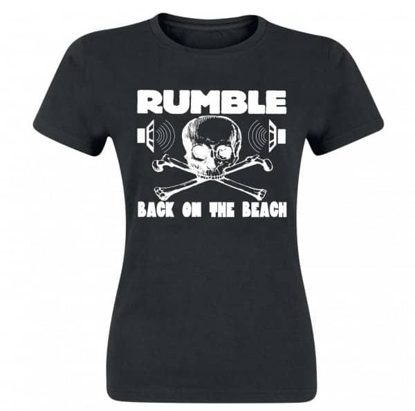 Rumble Girlie Shirt, black, white print, size L