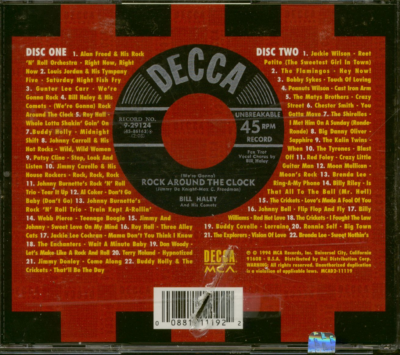 Various Cd The Decca Rock Amp Roll Collection 2 Cd Bear