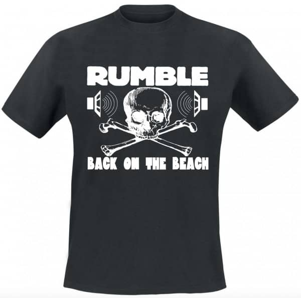 Rumble On The Beach Shirt, black, white print, size XL