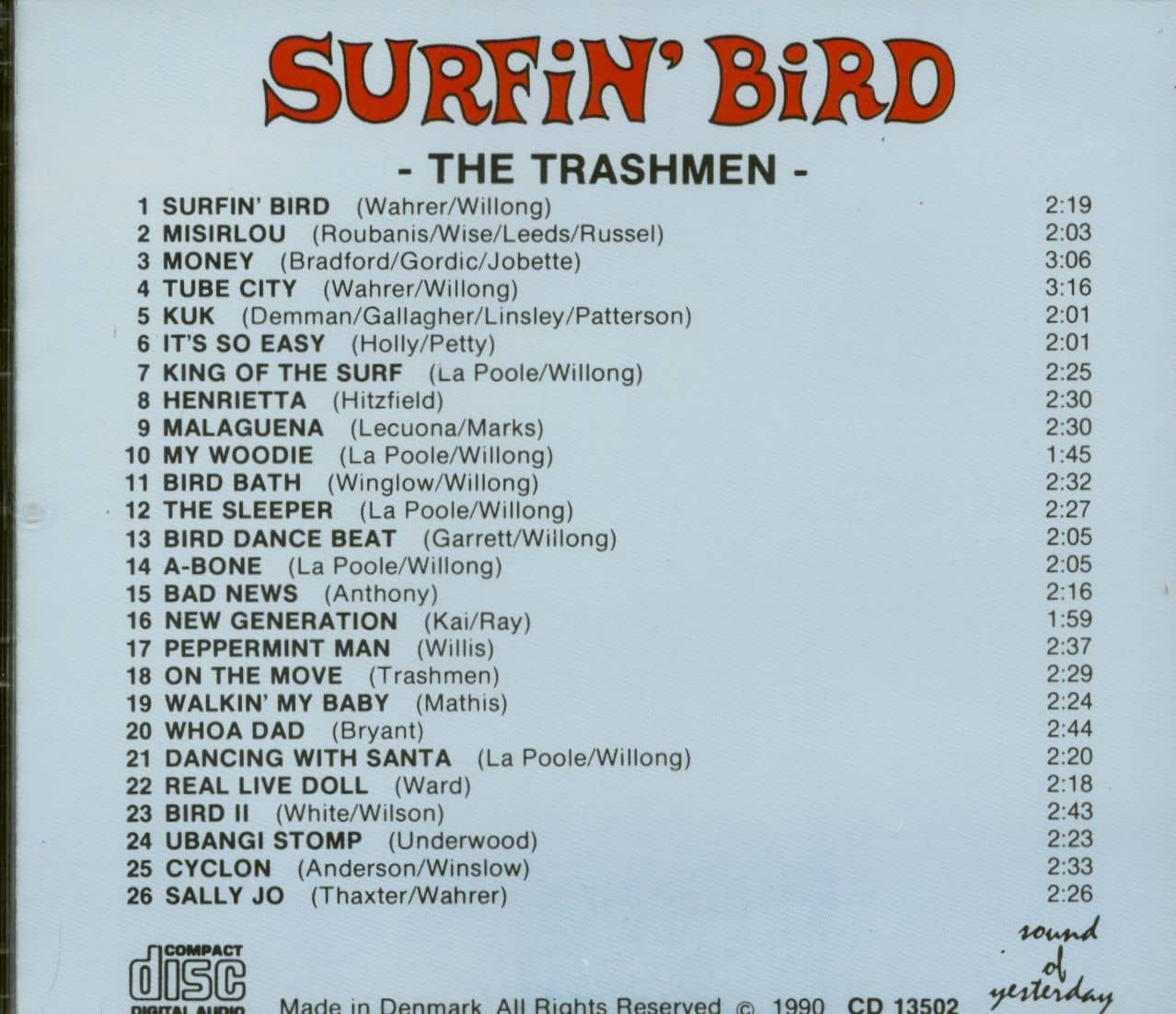 The Trashmen Cd Surfin Bird Cd Bear Family Records