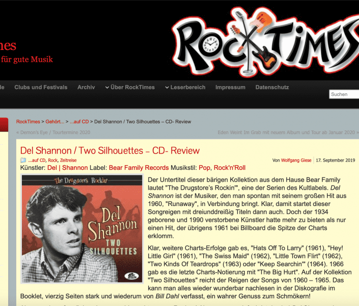 Presse-Del-Shannon-The-Drugstore-s-Rockin-Two-Silhouettes-CD-Rocktimes