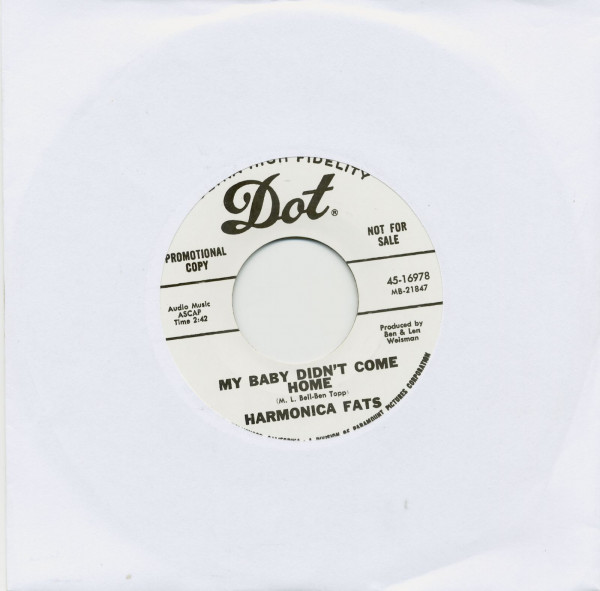 My Baby Didn't Come Home b-w Drive Way Blues 45 rpm
