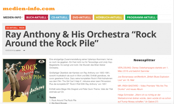 Presse-Archiv-Ray-Anthony-His-Orchestra-Rock-Around-The-Rock-Pile-Medien-Info
