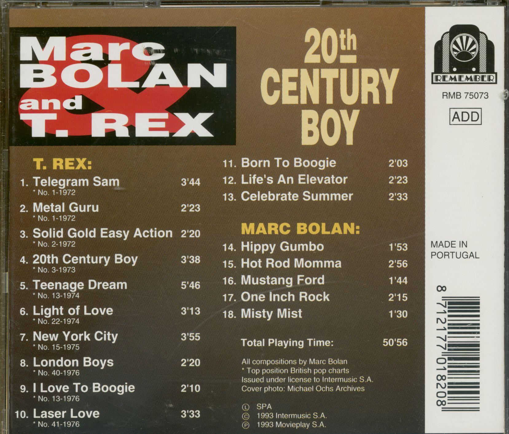 Marc Bolan & T.Rex CD: 20th Century Boy (CD)