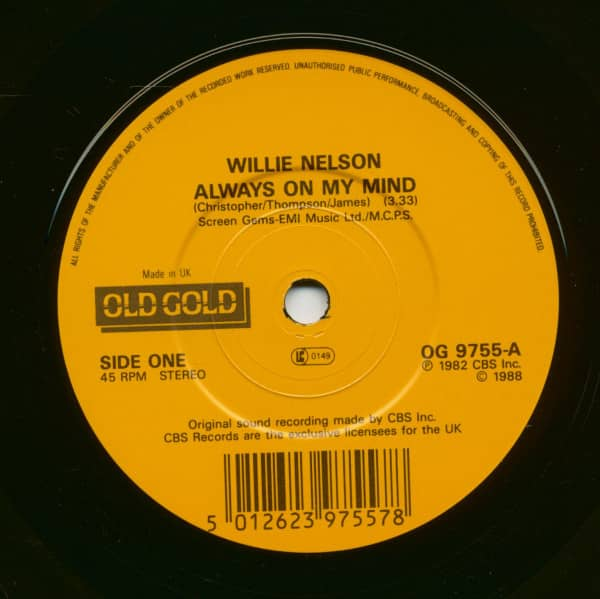 Always On My Mind - Blue Eyes Crying In The Rain (7inch, 45rpm, SC)