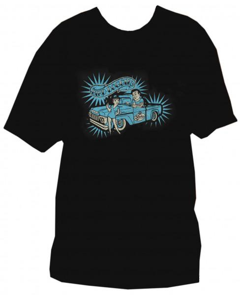 T-Shirt L - Bird Doggin (black, blue print)