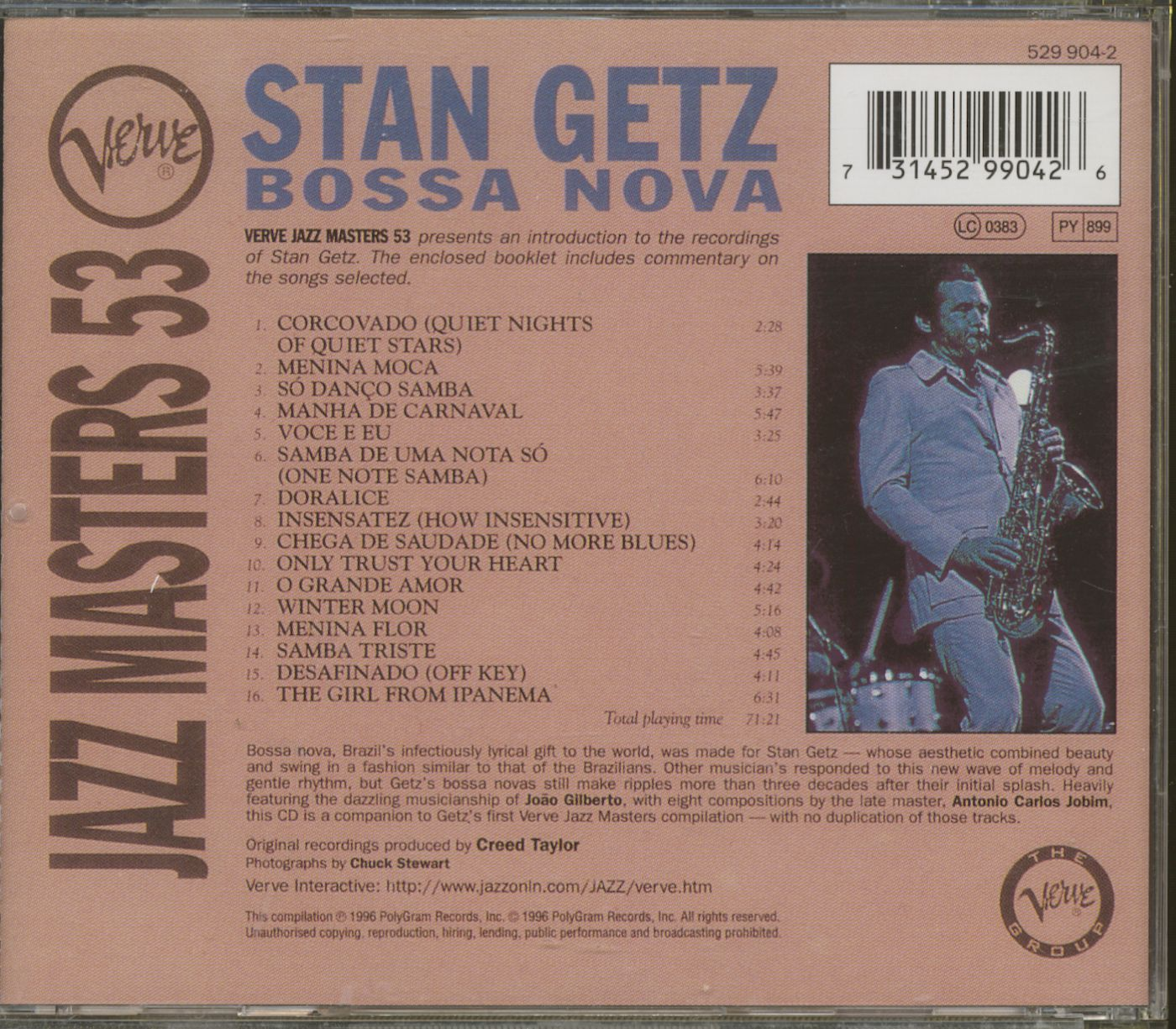 Stan Getz Cd Bossa Nova Verve Jazz Masters 53 Cd