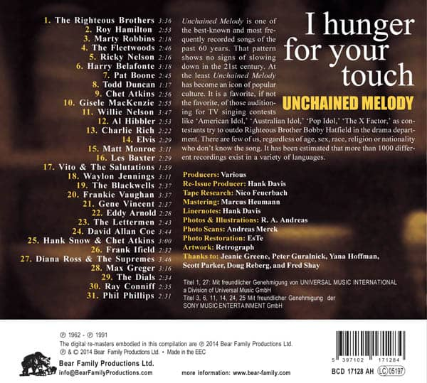 Various Cd Unchained Melody I Hunger For Your Touch Cd