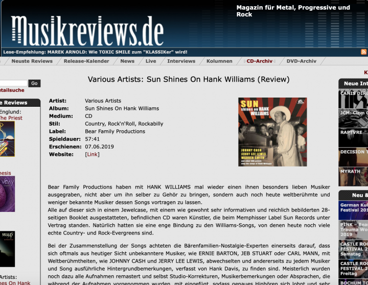 Presse-Various-Artists-Sun-Shines-On-Hank-Williams-Sun-Artists-Sing-The-Songs-Of-musikreviews