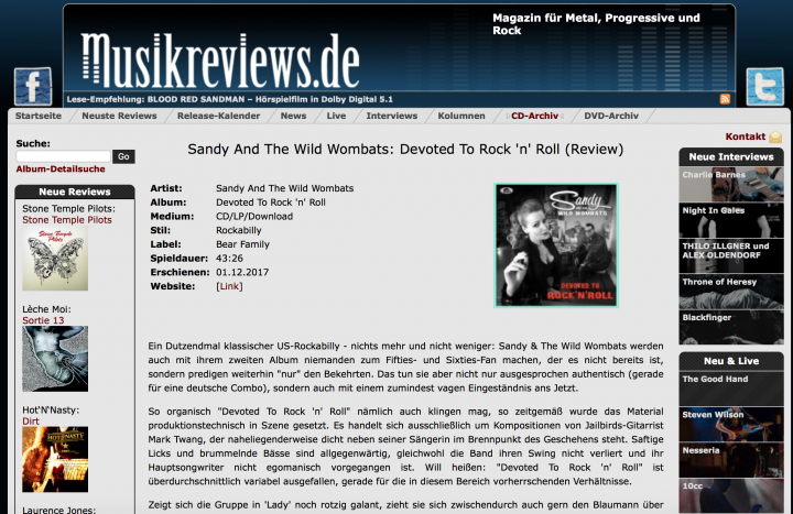 Presse-Sandy-The-Wild-Wombats-Devoted-To-Rock-n-Roll-musikreviews