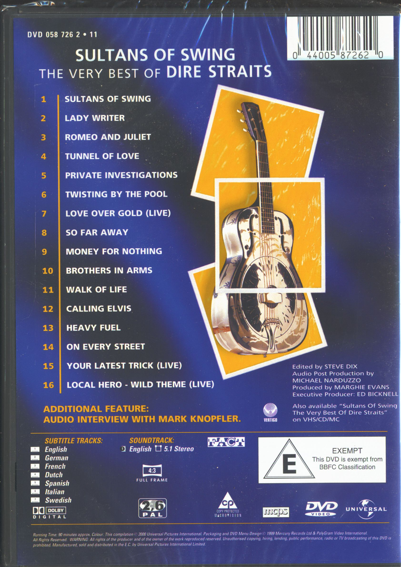 Dire Straits Mark Knopfler Dvd The Very Best Of Dire
