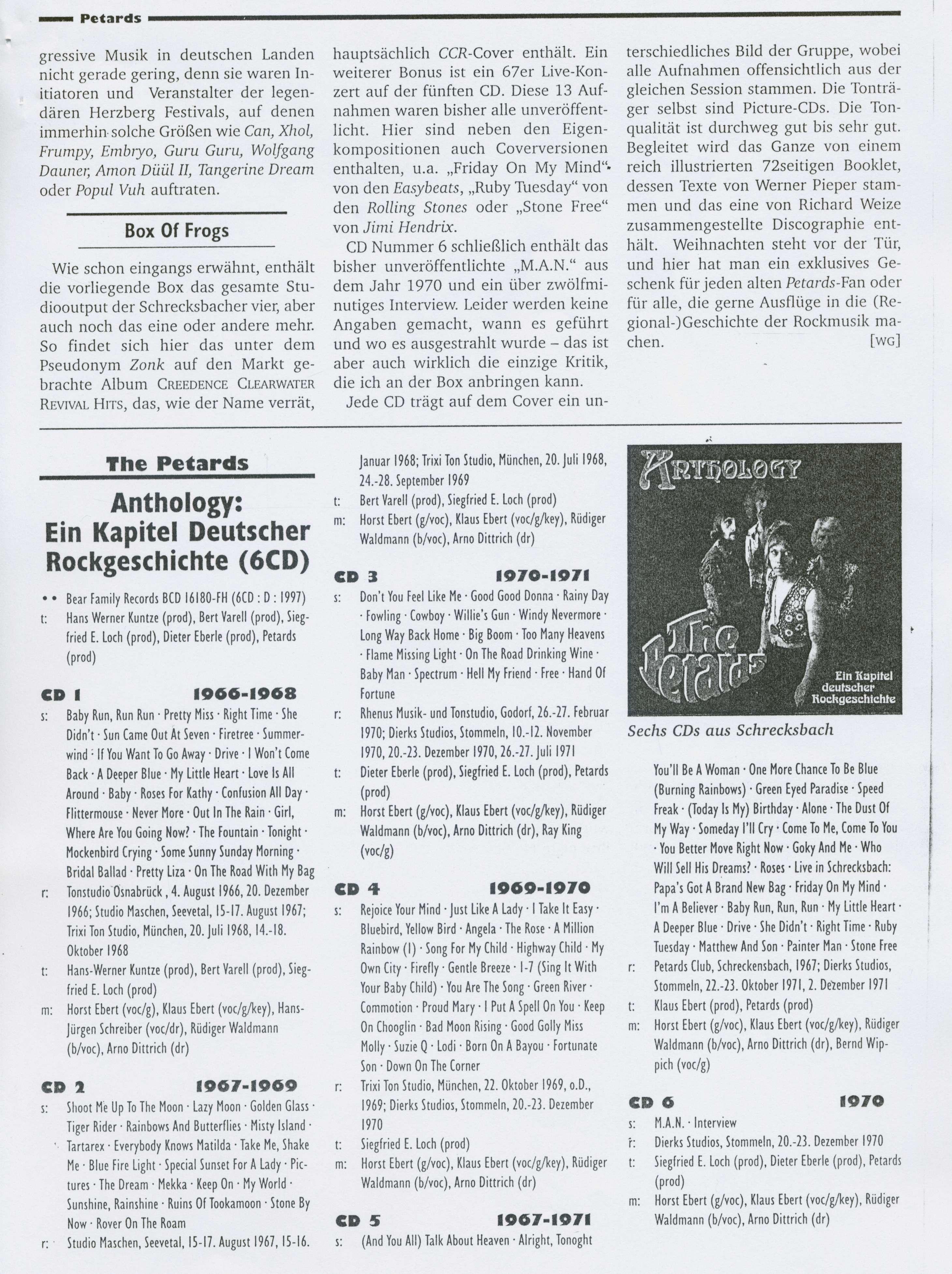 Presse Archive - The Petards - Anthology - Rock & Pop Sammlung