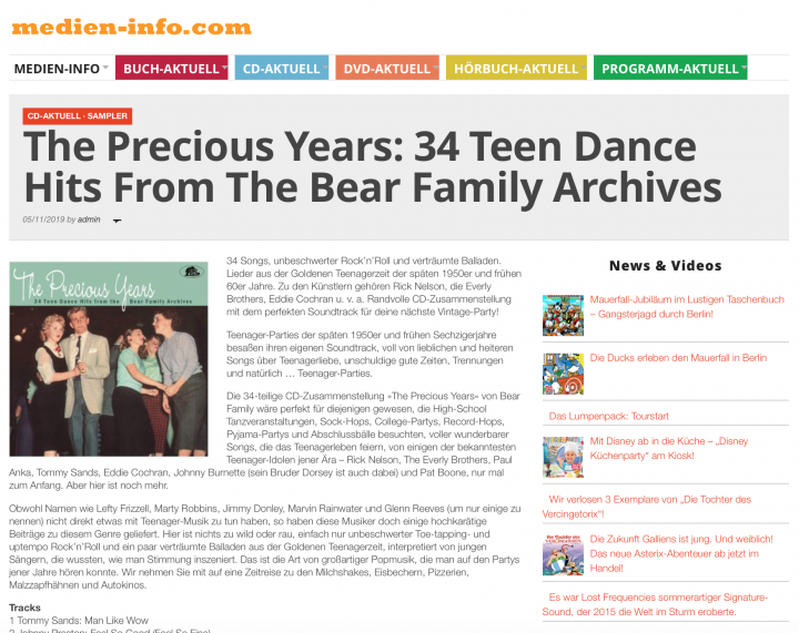 Presse-Archiv-The-Precious-Years-34-Teen-Dance-Hits-medien-info