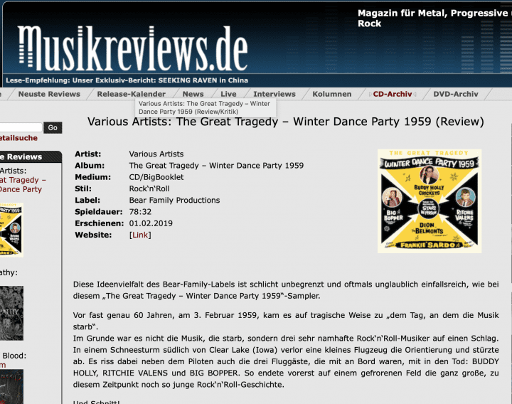 Presse-Archiv-The-Great-Tragedy-Winter-Dance-Party-1959-Musikreviews