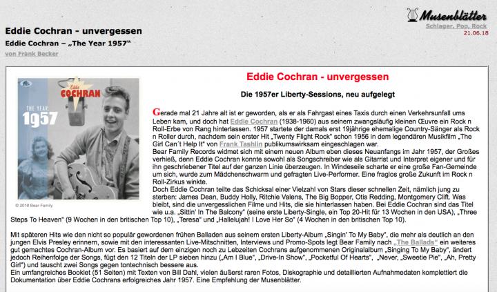 Presse-Eddie-Cochran-Somethin-Else-The-Year-1957-Musenbl-tter