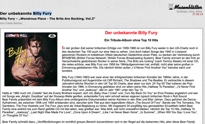 Presse-Archiv-Billy-Fury-Wondrous-Place-The-Brits-Are-Rocking-Musenbl-tter
