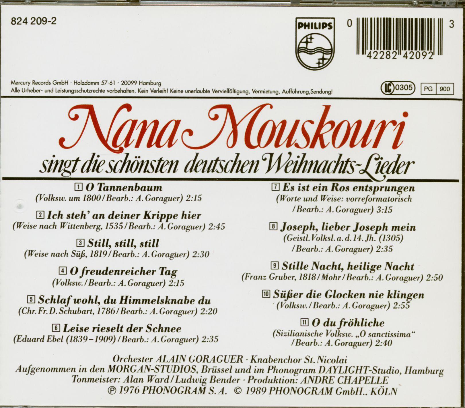 Die Schönsten Deutsche Weihnachtslieder.Nana Mouskouri Singt Die Schönsten Deutschen Weihnachtslieder Cd