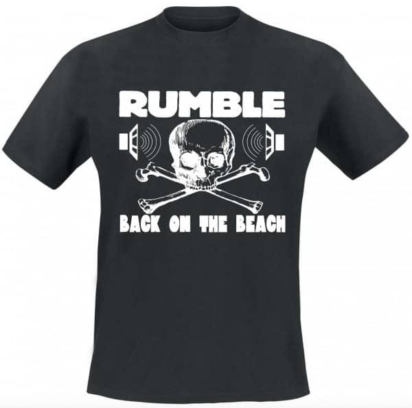 Rumble On The Beach Shirt, black, white print, size M