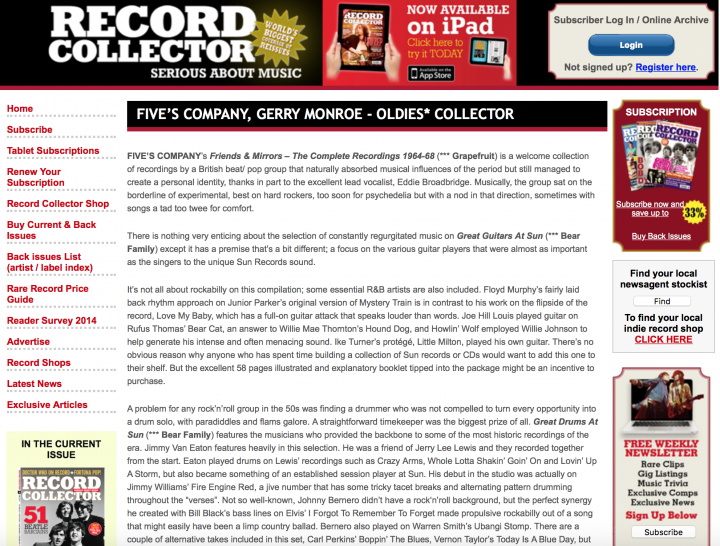 Presse-Various-SUN-Records-Great-Drums-At-Sun-The-Record-Collector